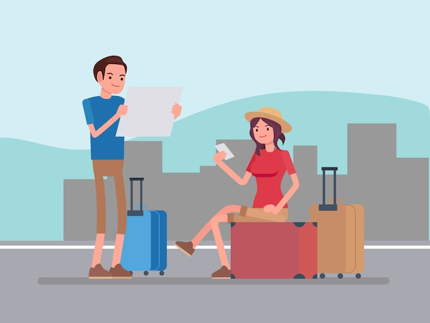 Pessoas de vetor viajando