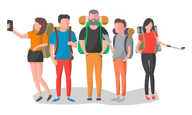 Pessoas de viagem com mochila definida em design plano