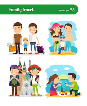 Pessoas de viagens em família