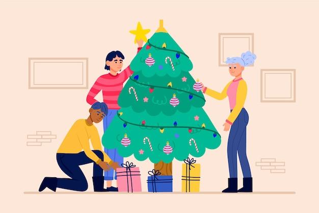 Pessoas decorando a árvore de natal com ilustração de ornamentos