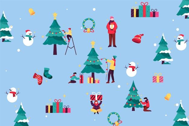 Pessoas decorando design plano de árvore de natal