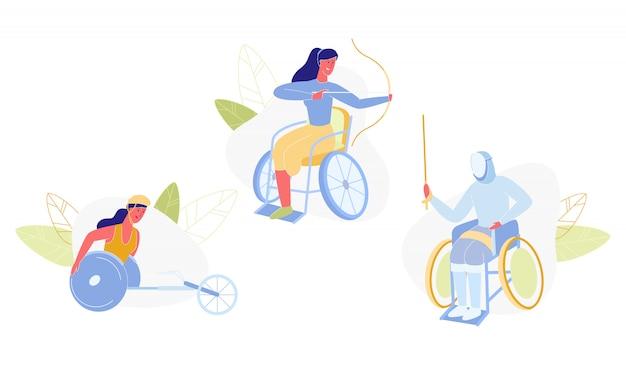 Pessoas deficientes do sexo feminino fazendo atividades esportivas