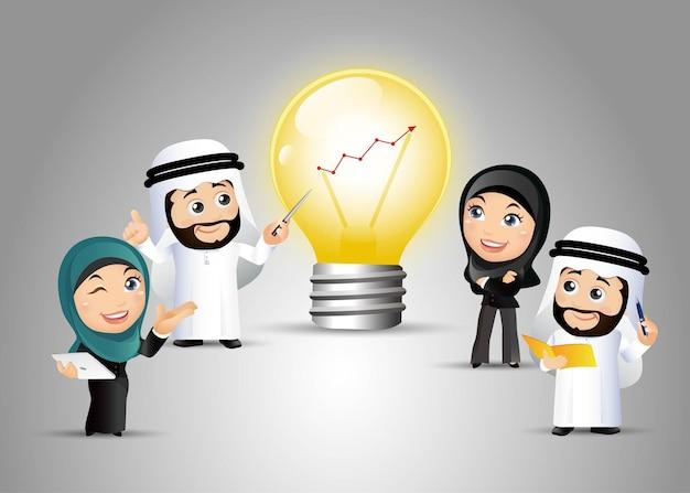 Pessoas definem gráfico de lâmpadas árabes