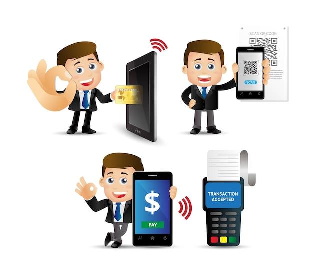 Pessoas definem pagamentos móveis.