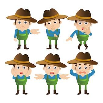 Pessoas definem personagens de fazendeiros de profissão em diferentes poses