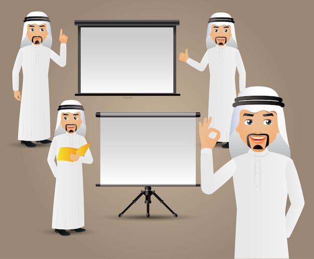 Pessoas definidas como homens de negócios fazendo uma apresentação