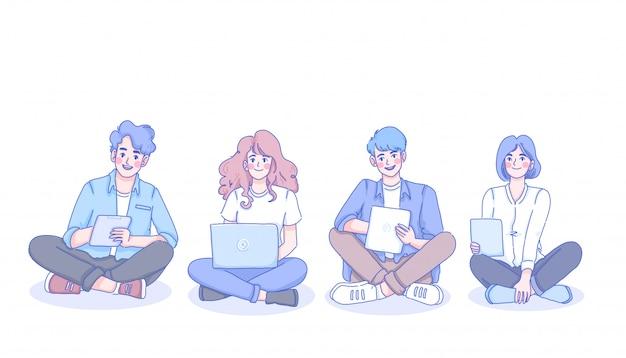 Pessoas definindo caracteres