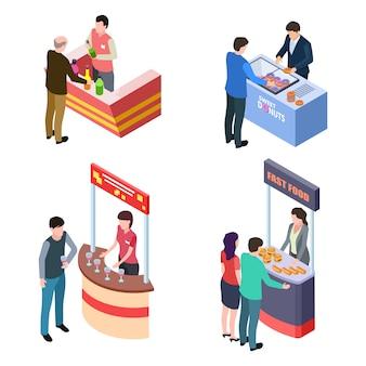 Pessoas degustação de alimentos e bebidas em estandes promocionais definido