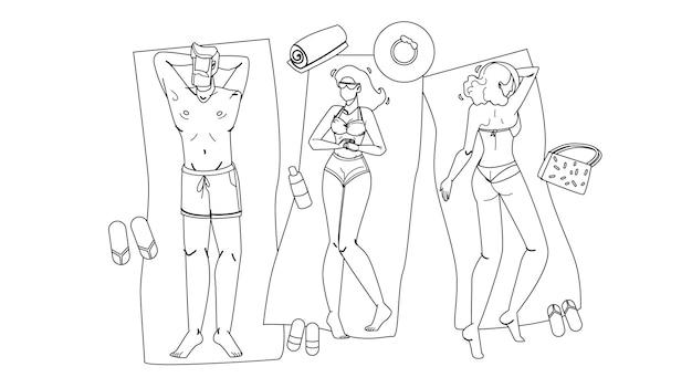 Pessoas deitadas na praia, relaxam e tomando banho de sol linha preta desenho vetorial. jovem e meninas deitadas na praia, bronzeamento e relaxantes raios de sol. personagens summertime leisure férias ilustração