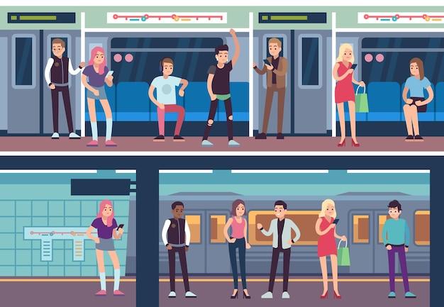 Pessoas dentro do metrô. estação de metro de transportes públicos. plataforma de metrô e trem
