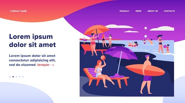 Pessoas descansando na praia do mar no verão. mulheres e homens nadando e sentados sob a ilustração vetorial plana de guarda-chuva. design de site de conceito de férias de lazer ou página de destino