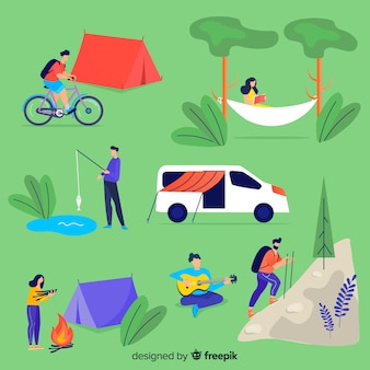 Pessoas, descansar, acampamento