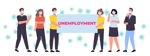 Pessoas desempregadas. conceito de redução de empregos desempregados e empregados. ilustração vetorial