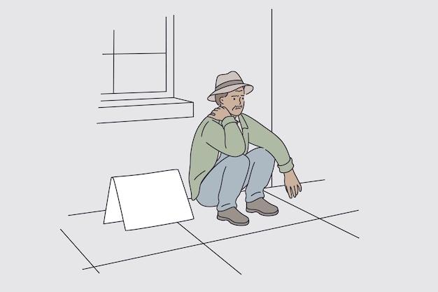Pessoas desempregadas durante o conceito de grande depressão