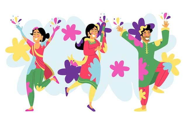 Pessoas desenhadas à mão celebrando o festival de holi