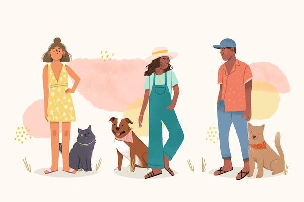 Pessoas desenhadas à mão com animais de estimação
