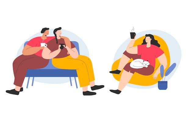 Pessoas desenhadas à mão com bebidas quentes ilustradas