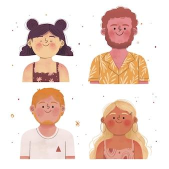 Pessoas desenhadas à mão com queimaduras de sol