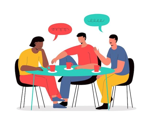 Pessoas desenhadas à mão conversando à mesa