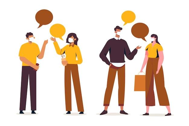 Pessoas desenhadas à mão conversando
