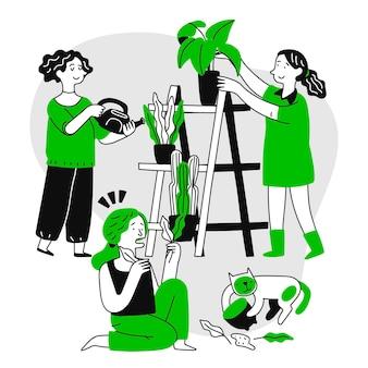 Pessoas desenhadas à mão cuidando das plantas
