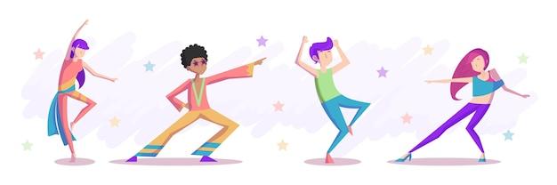 Pessoas desenhadas à mão dançando
