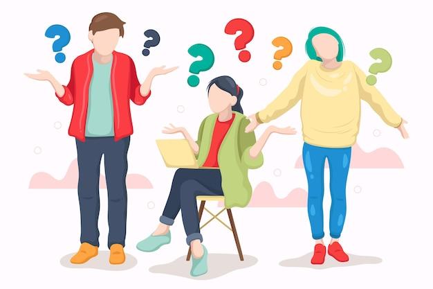 Pessoas desenhadas à mão fazendo perguntas coleção