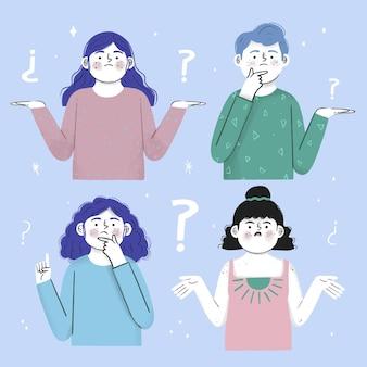 Pessoas desenhadas à mão fazendo perguntas