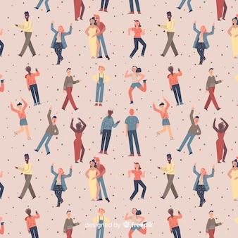 Pessoas desenhadas a mão movendo o fundo