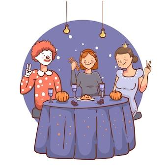 Pessoas desenhadas à mão no dia das bruxas jantando