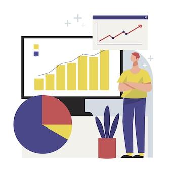 Pessoas desenhadas à mão plana analisando a ilustração do gráfico de crescimento