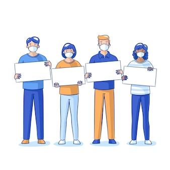 Pessoas desenhadas à mão plana com máscaras médicas e cartazes em branco
