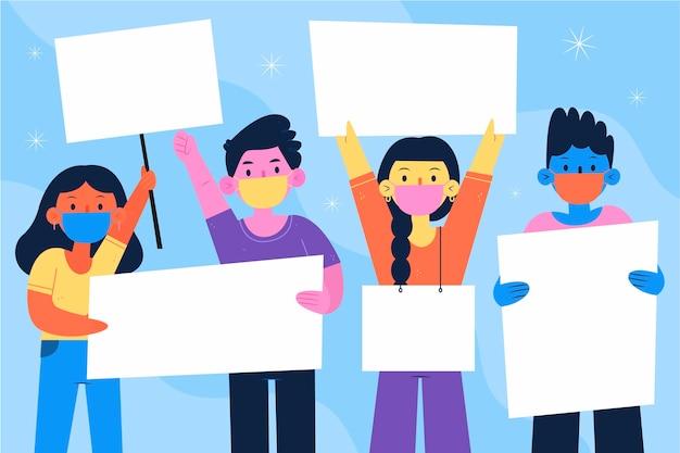 Pessoas desenhadas à mão plana com máscaras médicas e cartazes