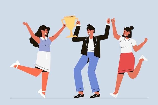 Pessoas desenhadas à mão plana comemorando a conquista de uma meta