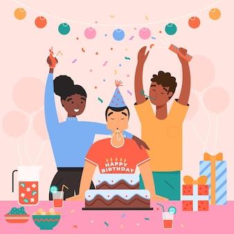 Pessoas desenhadas à mão plana comemorando aniversário de aniversário