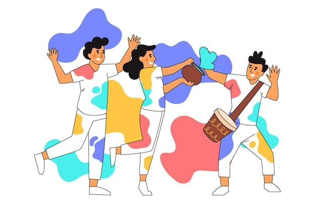 Pessoas desenhadas à mão plana comemorando o festival de holi