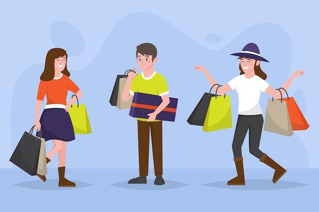 Pessoas desenhadas à mão plana comprando à venda