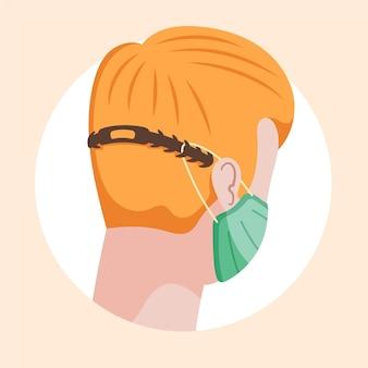Pessoas desenhadas à mão plana usando uma alça de máscara facial ajustável