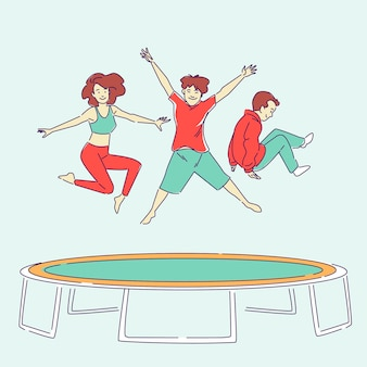Pessoas desenhadas à mão pulando