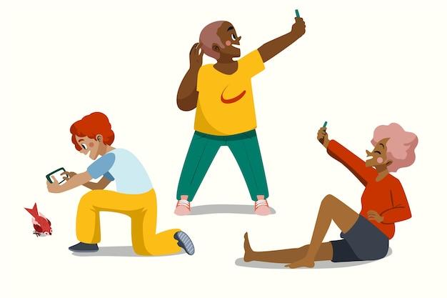 Pessoas desenhadas à mão tirando fotos com o telefone