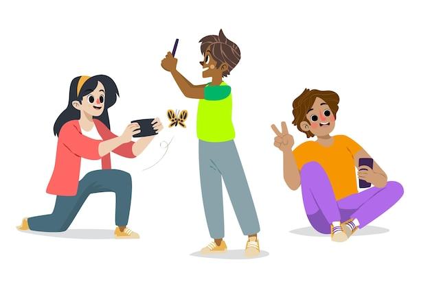 Pessoas desenhadas à mão tirando fotos com smartphone