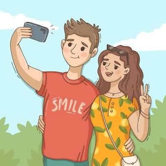 Pessoas desenhadas à mão tirando selfie Vetor grátis