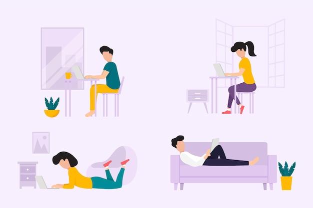 Pessoas desenhadas à mão trabalhando em casa