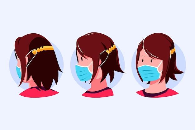 Pessoas desenhadas à mão usando uma alça de máscara facial ajustável