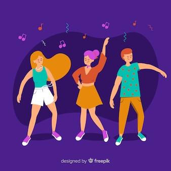 Pessoas desenhadas mão dançando conjunto
