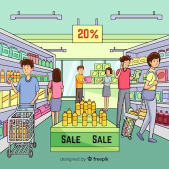Pessoas desenhadas mão de compras no fundo do supermercado