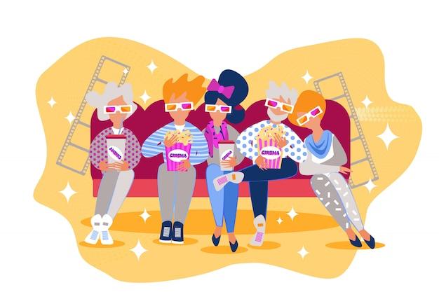 Pessoas desenhos animados sentam sofá comer filme cinema pipoca