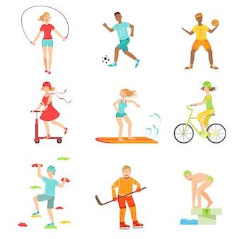 Pessoas desfrutando de atividades físicas ilustrações