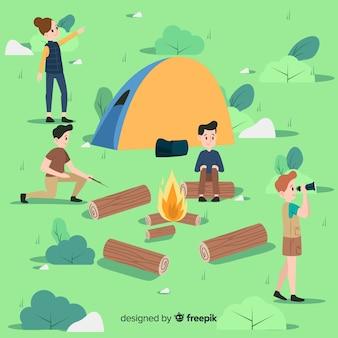 Pessoas, desfrutando, em, um, acampamento