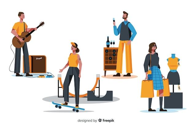 Pessoas, desfrutando, seu, hobbies, apartamento, desenho